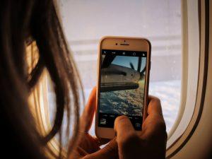 social media influencer on a plane