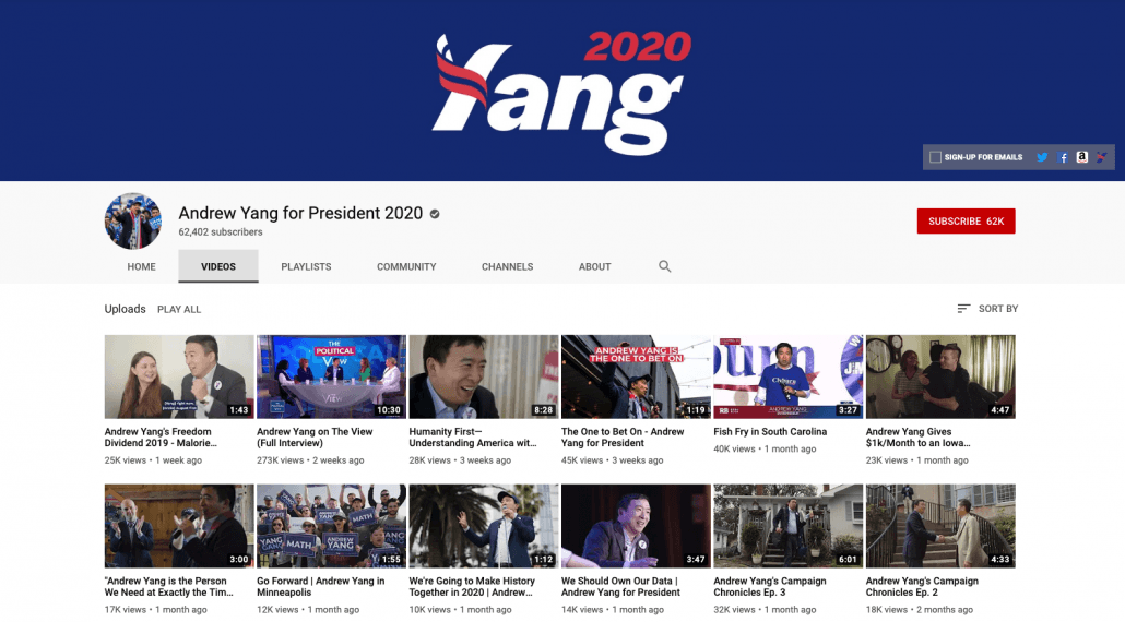 Andrew Yang YouTube