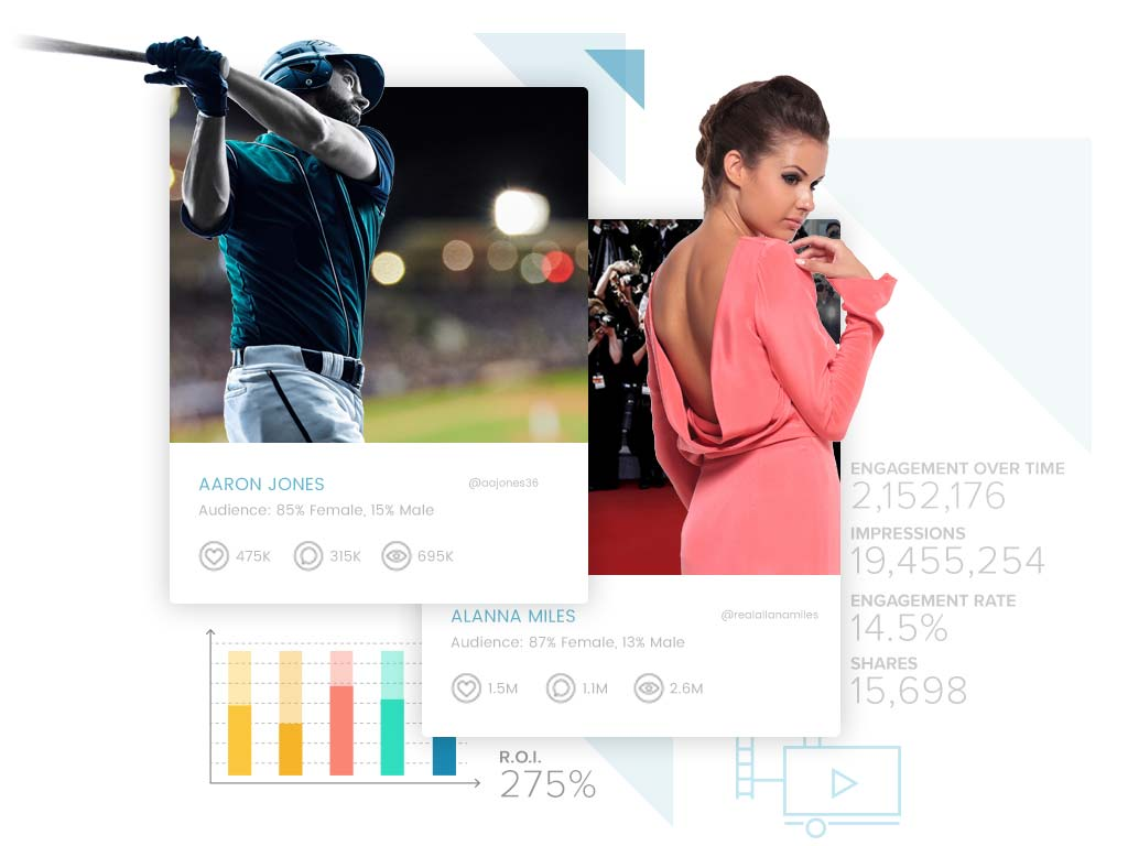 Sideqik profiles showing data for sports and entertainment influencers
