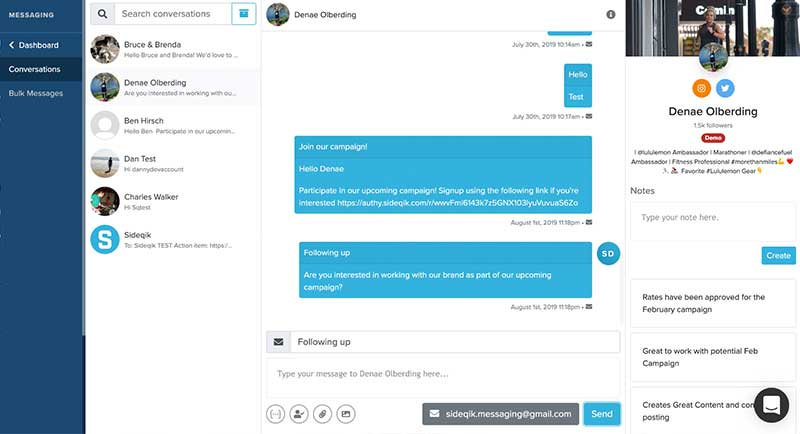 Sideqik dashboard screen showing messaging with influencers