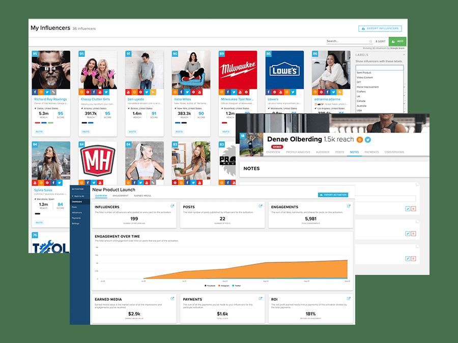 Screenshots of Sideqik dashboard showing collaboration tools