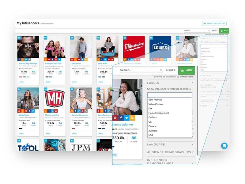 Screenshot of Sideqik influencer collaboration screen