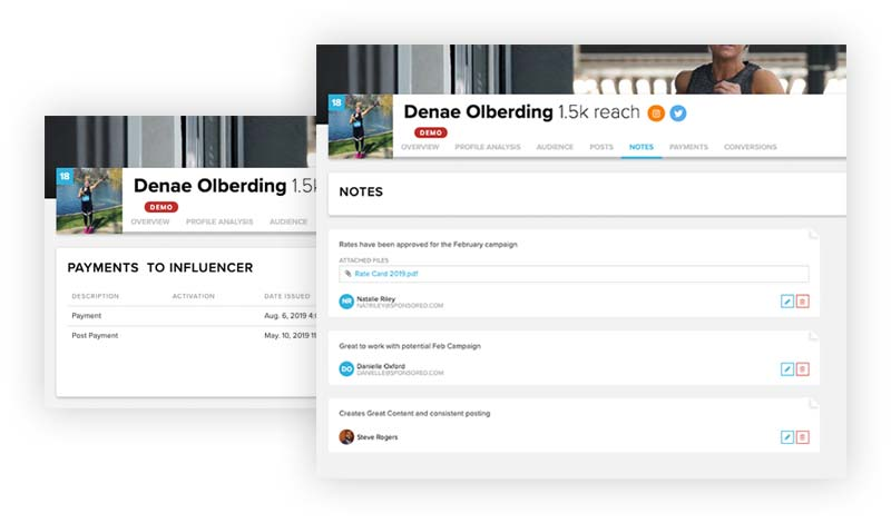 Sideqik dashboard screens showing influencer management options