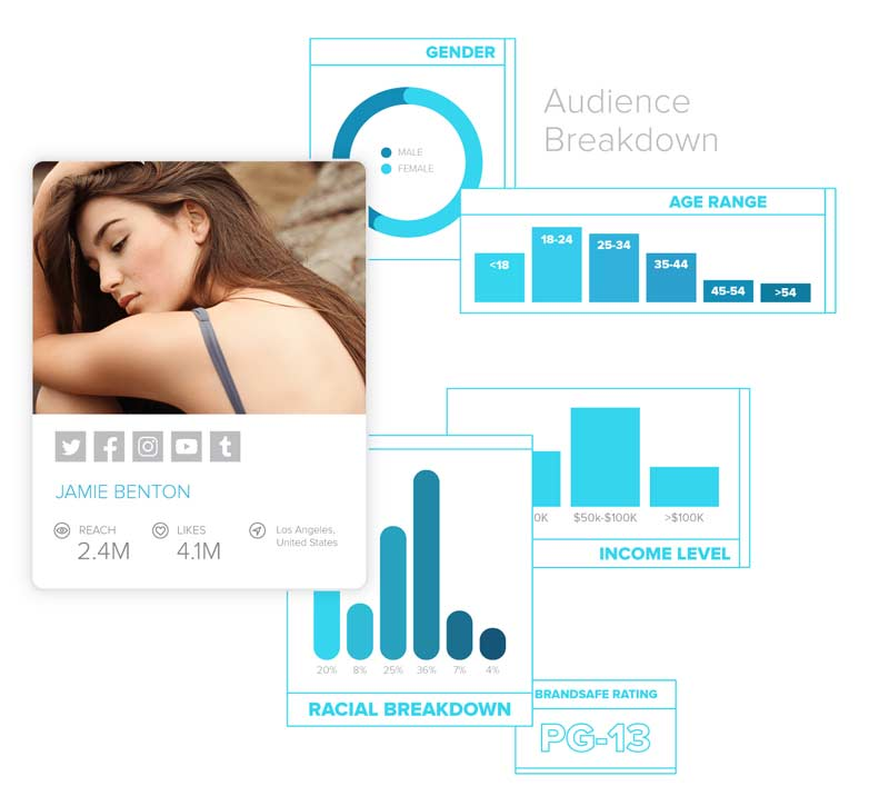 Sideqik profile card showing an influencer's audience breakdown by gender, race, income level, and age