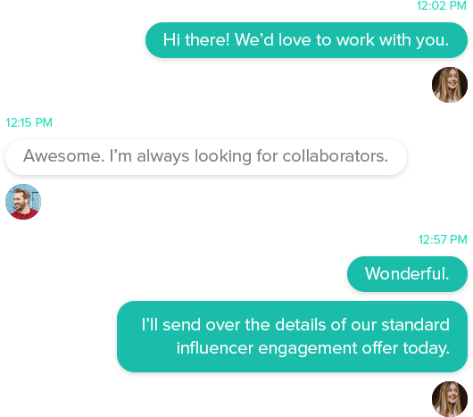 Screenshot of a messaging conversation between a company representative and a digital influencer
