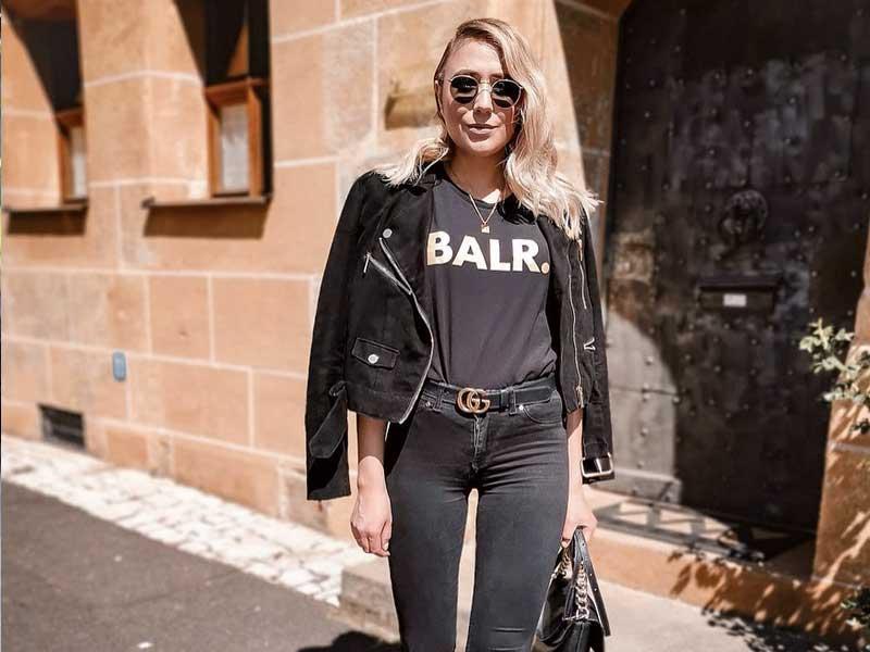Young female influencer wearing BALR. shirt