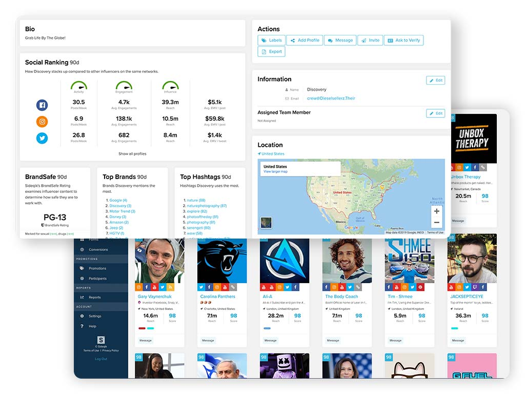 Screens showing influencer management tools