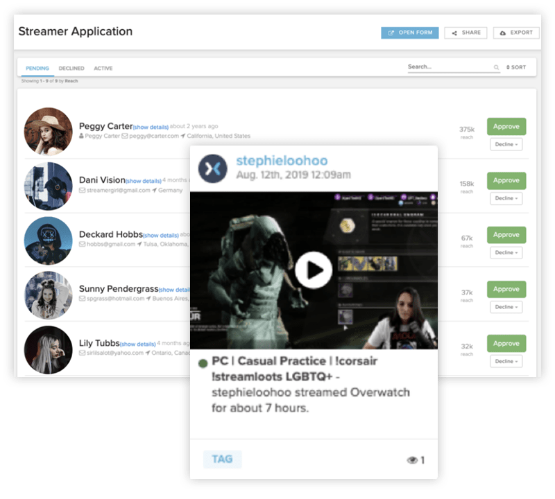 Sideqik Platform screens showing influencers for Corsair ambassador network