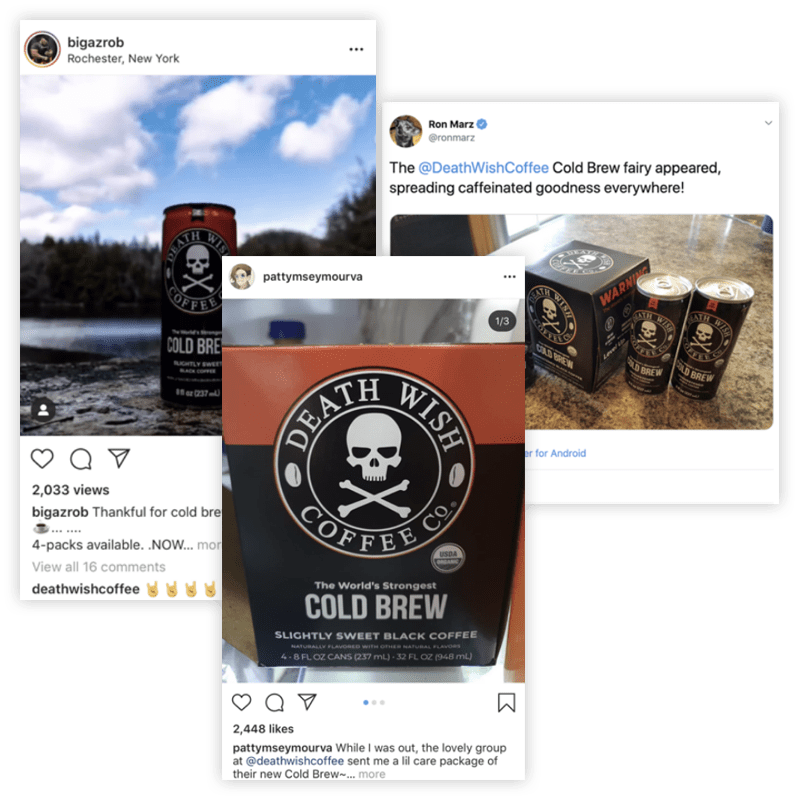 Instagram posts from customers for Death Wish Coffee Cold Brew
