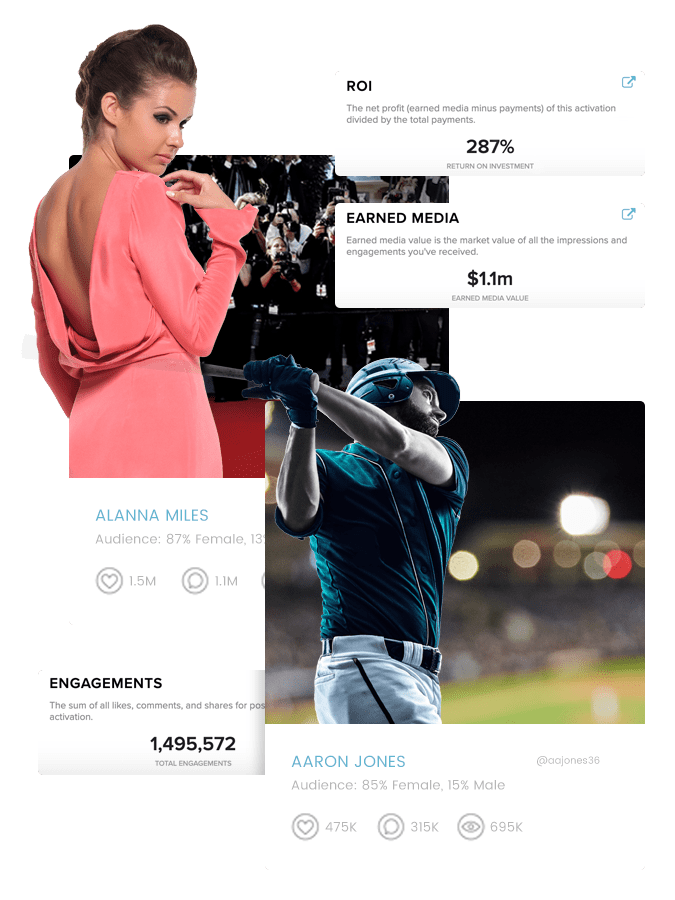 Sports and entertainment influencer profiles and Sideqik data