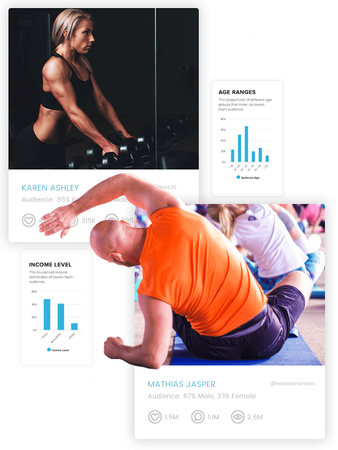 Sideqik Health and Fitness Influencer bios and demographics
